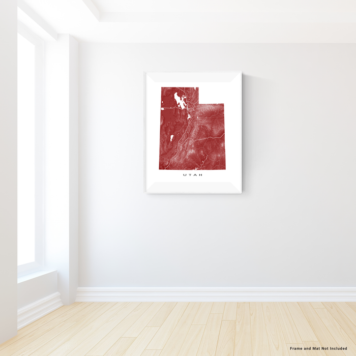 Utah state map print with natural landscape and main roads in Merlot designed by Maps As Art.