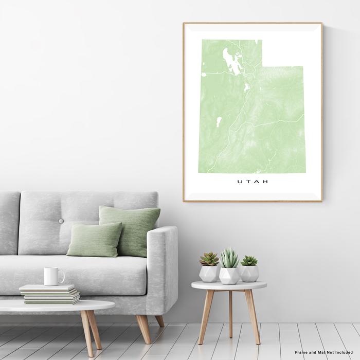 Utah state map print with natural landscape and main roads in Sage designed by Maps As Art.