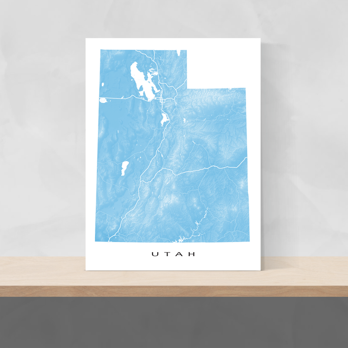 Utah state map print with natural landscape and main roads in Malibu designed by Maps As Art.