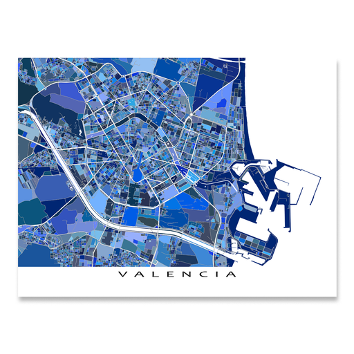 Valencia, Spain map art print in blue shapes designed by Maps As Art.