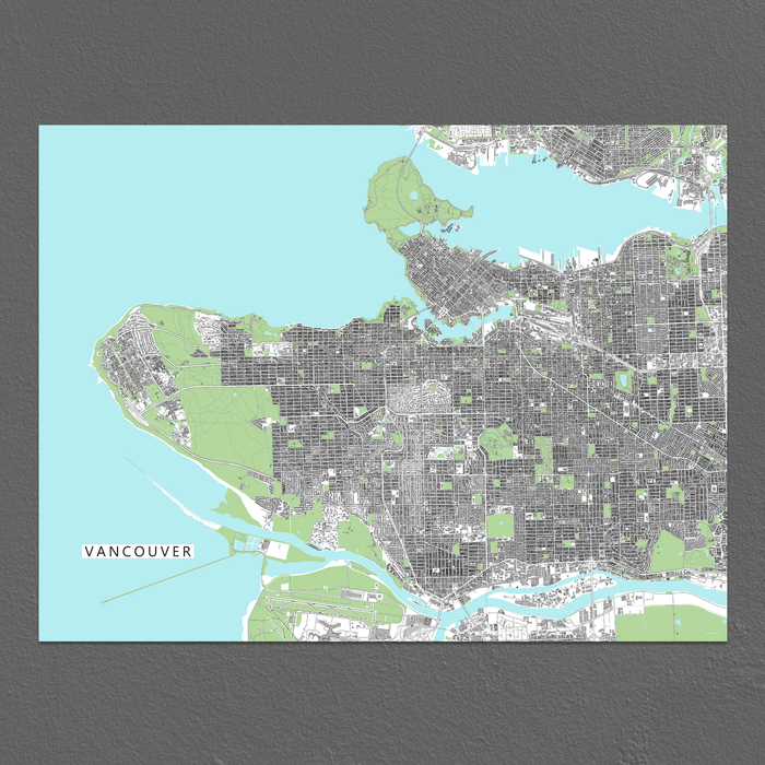 Vancouver, BC, Canada map art print with city streets and buildings from Maps As Art.