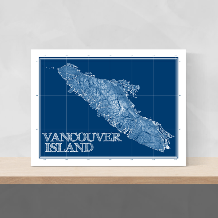 Vancouver Island, BC, Canada blueprint map art print designed by Maps As Art.