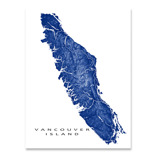 Vancouver Island map print with natural landscape and main roads in Navy designed by Maps As Art.