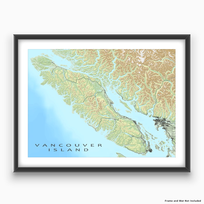 Vancouver Island map print with natural landscape and main roads designed by Maps As Art.