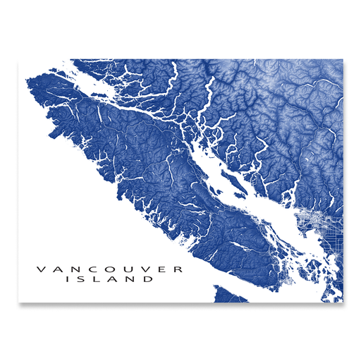 Vancouver Island Map Print, BC, Colors