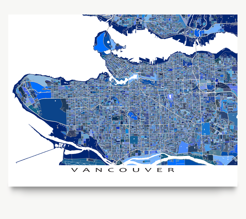 Vancouver, BC, Canada map art print in blue shapes designed by Maps As Art.