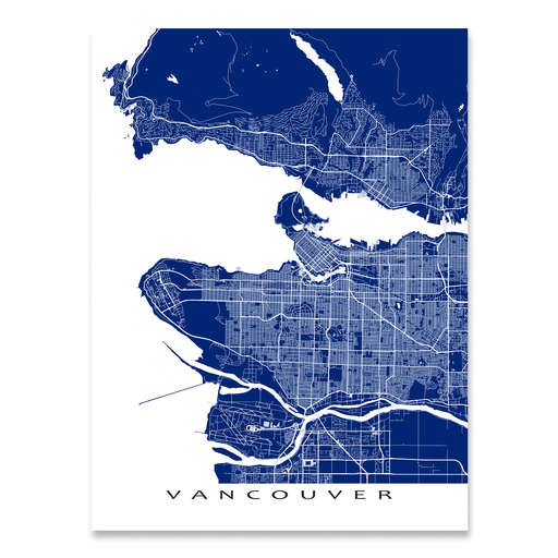 Vancouver Map Print, Canada, Colors
