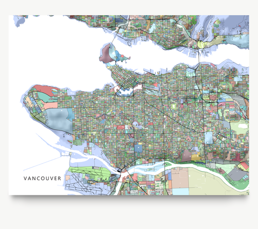 Vancouver, BC, Canada map art print in colorful shapes from Maps As Art.
