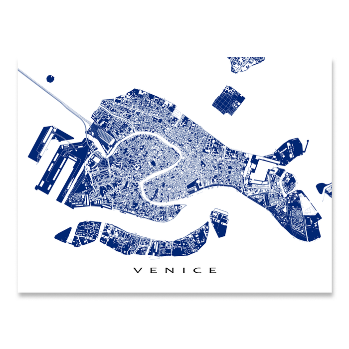 Venice, Italy map print with city streets and canals in Navy designed by Maps As Art.