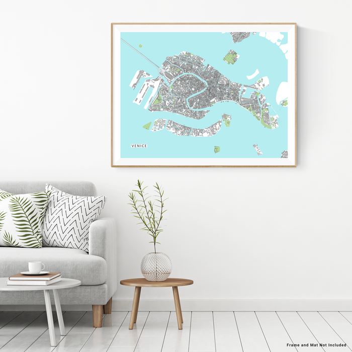 Venice, Italy map art print with city streets and buildings designed by Maps As Art.