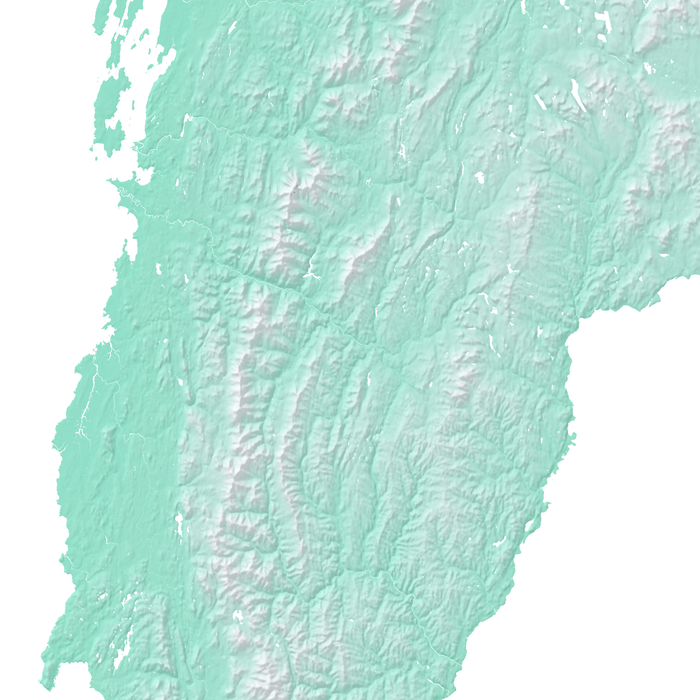 Vermont state map print with natural landscape in aqua tints designed by Maps As Art.