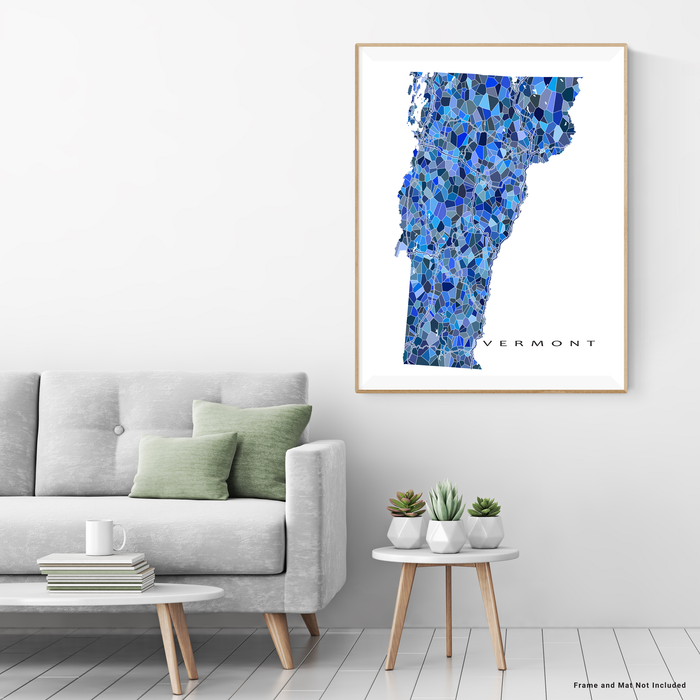 Vermont state map art print in blue shapes designed by Maps As Art.