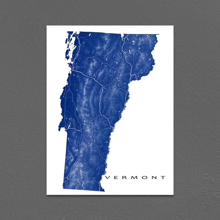 Vermont state map print with natural landscape and main roads in Navy designed by Maps As Art.