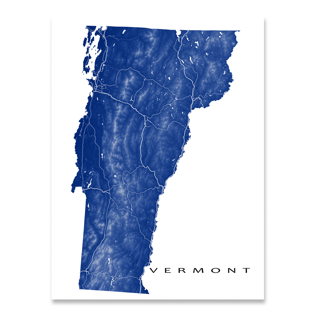 Vermont Map Print, USA State, VT