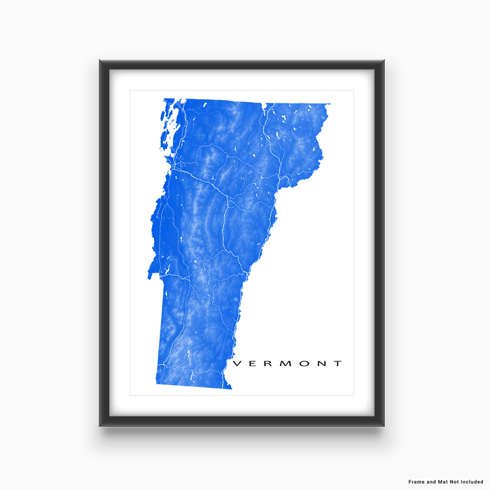 Vermont state map print with natural landscape and main roads in Blue designed by Maps As Art.
