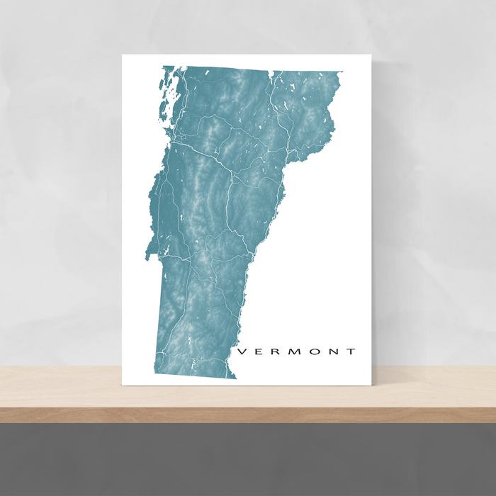 Vermont state map print with natural landscape and main roads in Marine designed by Maps As Art.