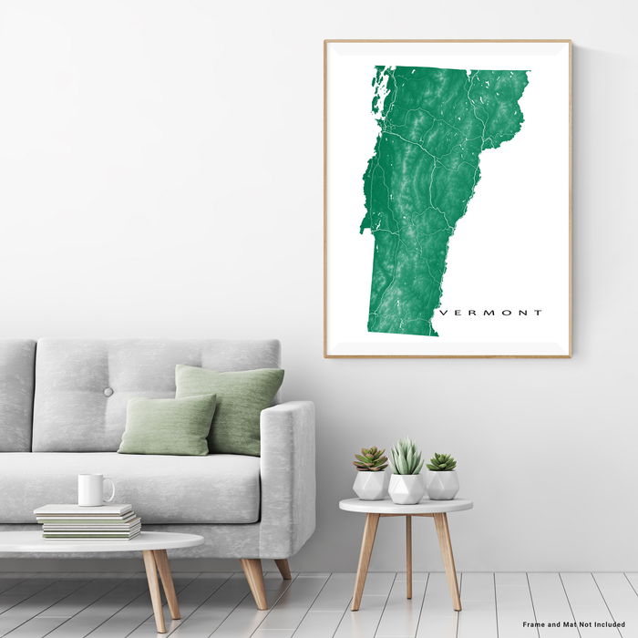 Vermont state map print with natural landscape and main roads in Green designed by Maps As Art.