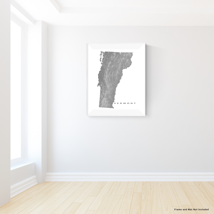 Vermont state map print with natural landscape and main roads in Grey designed by Maps As Art.