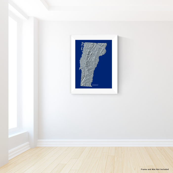 Vermont state map print with natural landscape in greyscale and a navy blue background designed by Maps As Art.