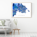 Victoria, BC, Canada map art print in blue shapes designed by Maps As Art.