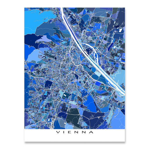 Vienna, Austria map art print in blue shapes designed by Maps As Art.