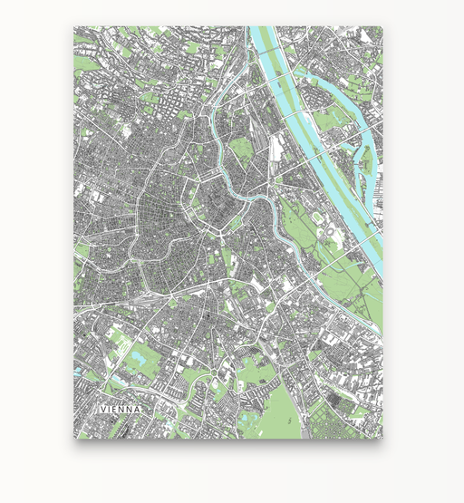 Vienna, Austria map art print with city streets and buildings designed by Maps As Art.