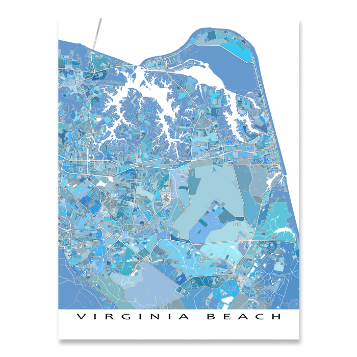 Virginia Beach Map Print, VA