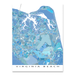 Virginia Beach, Virginia map art print in light blue shapes designed by Maps As Art.