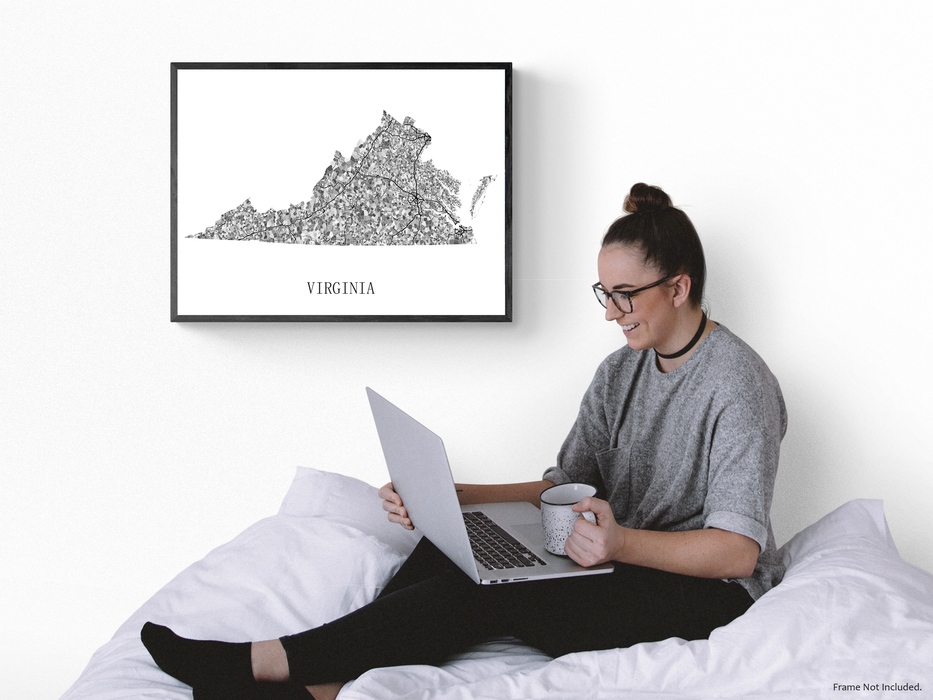 Virginia state map print in black and white shapes by Maps As Art.