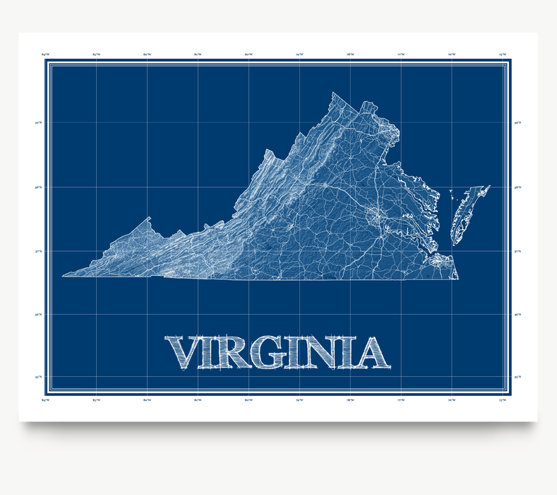 Virginia state blueprint map art print designed by Maps As Art.