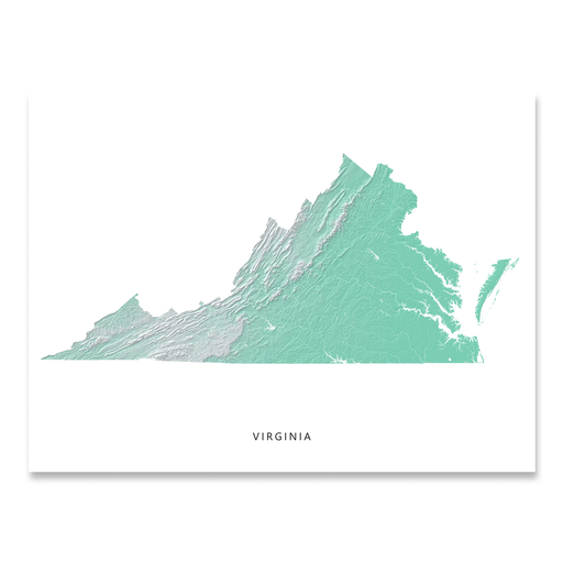 Virginia state map print with natural landscape in aqua tints designed by Maps As Art.