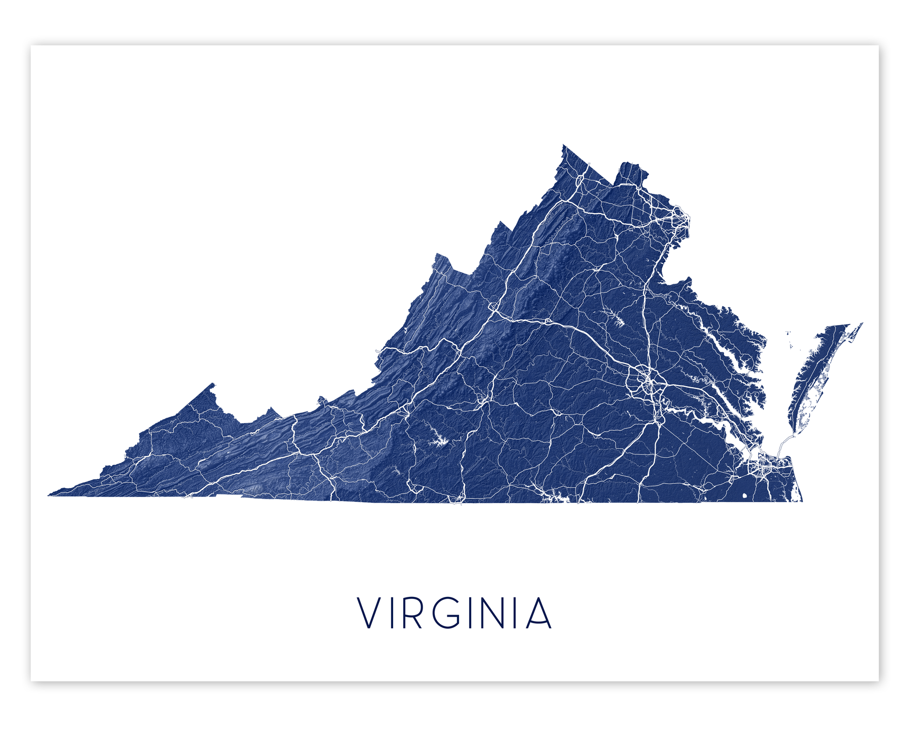 Virginia map print by Maps As Art.
