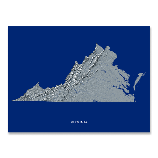 Virginia state map print with natural landscape in greyscale and a navy blue background designed by Maps As Art.