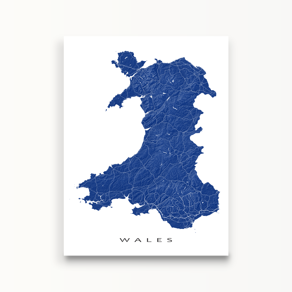 Wales Map Print in Navy by Maps As Art.