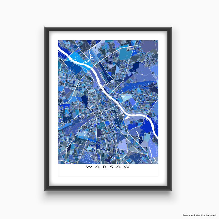 Warsaw, Poland map art print in blue shapes designed by Maps As Art.