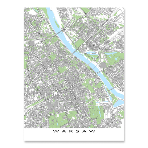 Warsaw Map Print, Poland, Grey