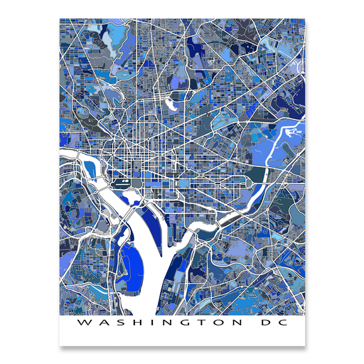 Washington DC map art print in blue shapes designed by Maps As Art.