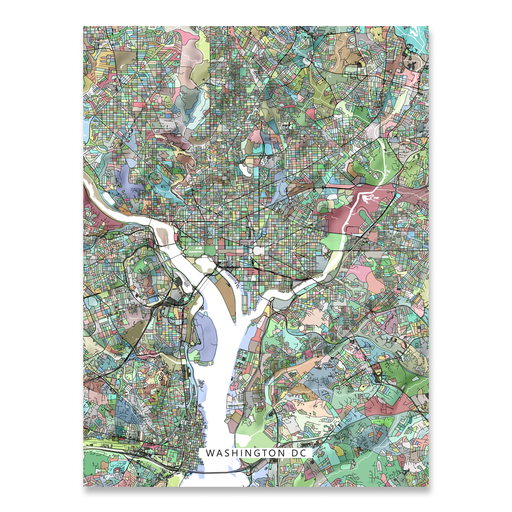 Washington DC map art print in colorful shapes designed by Maps As Art.