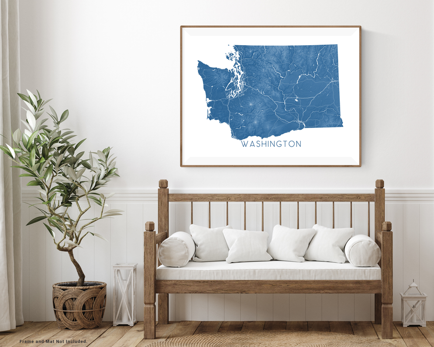 Washington state map print with wooden bench home decor by Maps As Art.