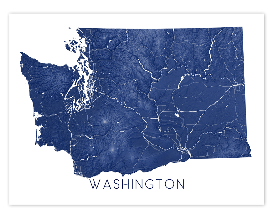 Washington state map print in Midnight by Maps As Art.