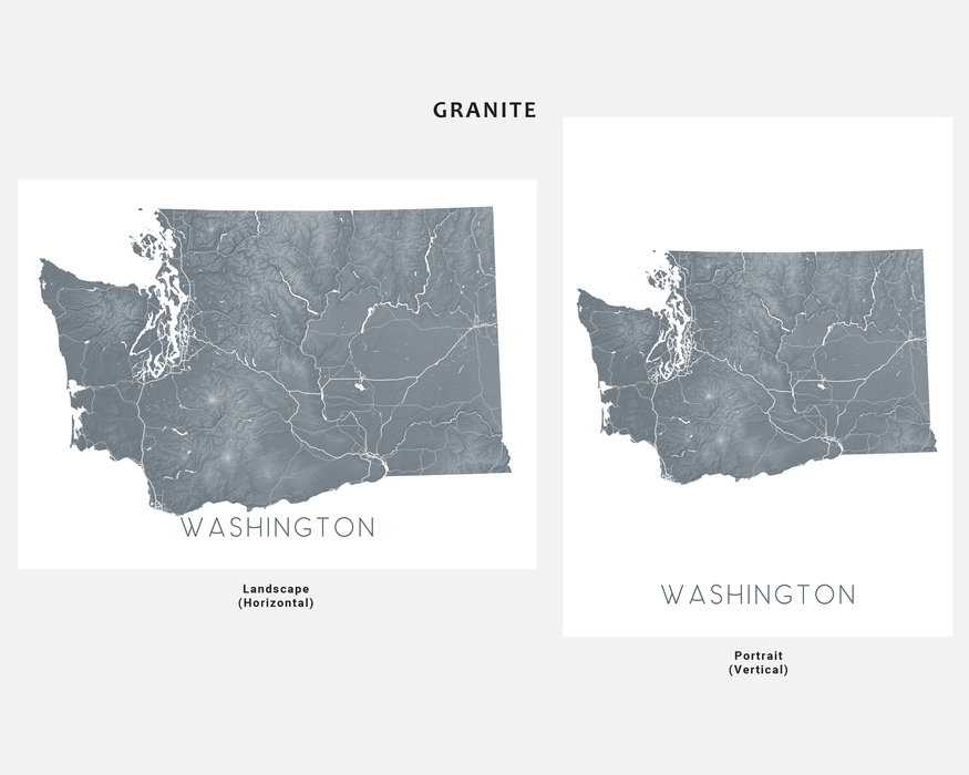 Washington state map print in Granite by Maps As Art.