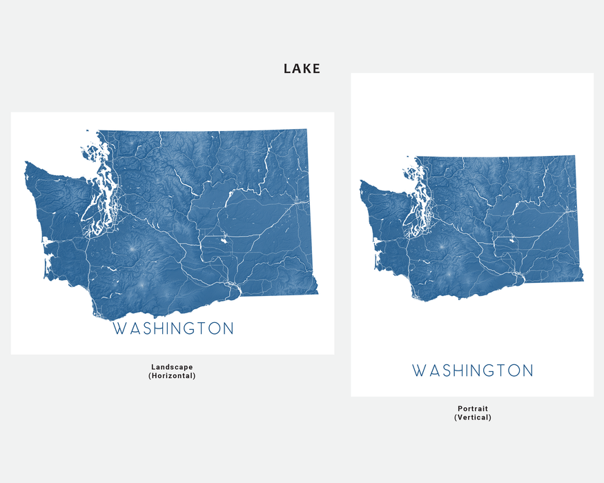 Washington state map print in Lake by Maps As Art.