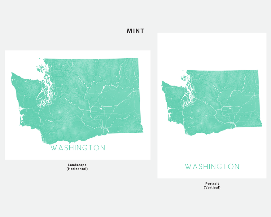 Washington state map print in Mint by Maps As Art.