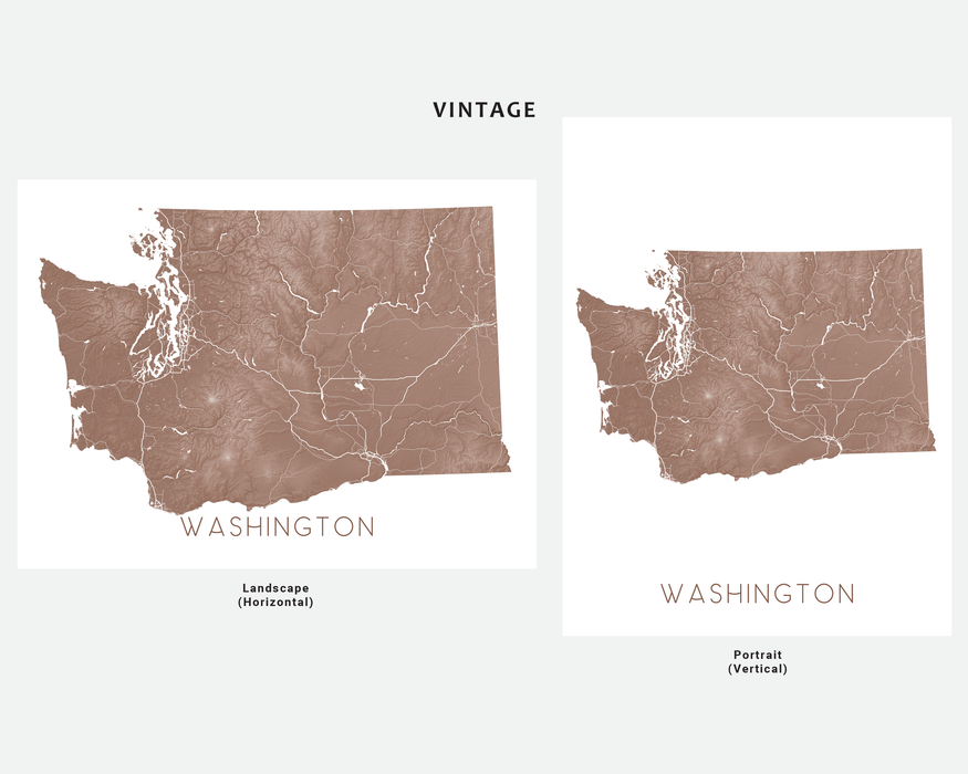 Washington state map print in Vintage by Maps As Art.