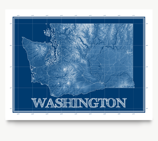 Washington state blueprint map art print designed by Maps As Art.
