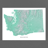 Washington Map Print, Aqua Landscape