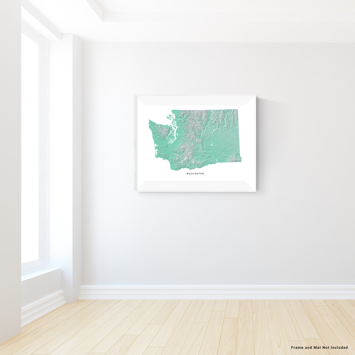 Washington state map print with natural landscape in aqua tints designed by Maps As Art.