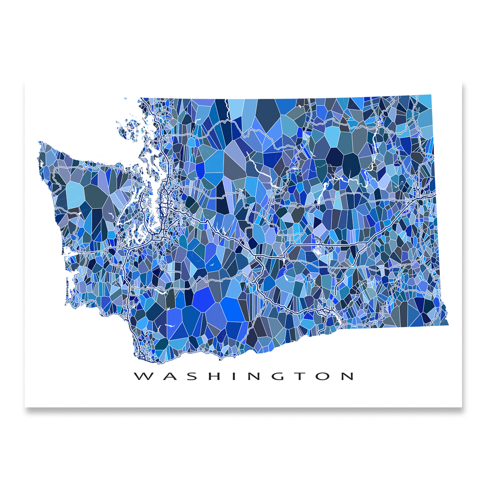Washington state map art print in blue shapes designed by Maps As Art.