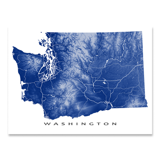 Washington state map print with natural landscape and main roads in Navy designed by Maps As Art.
