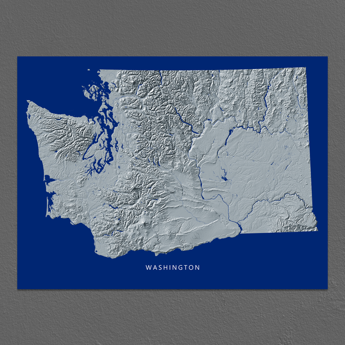 Washington state map print with natural landscape in greyscale and a navy blue background designed by Maps As Art.